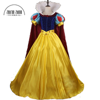 Top Quality Snow White Princess Cosplay Costume With Crystal For Halloween Dress Adult Women Custom Made