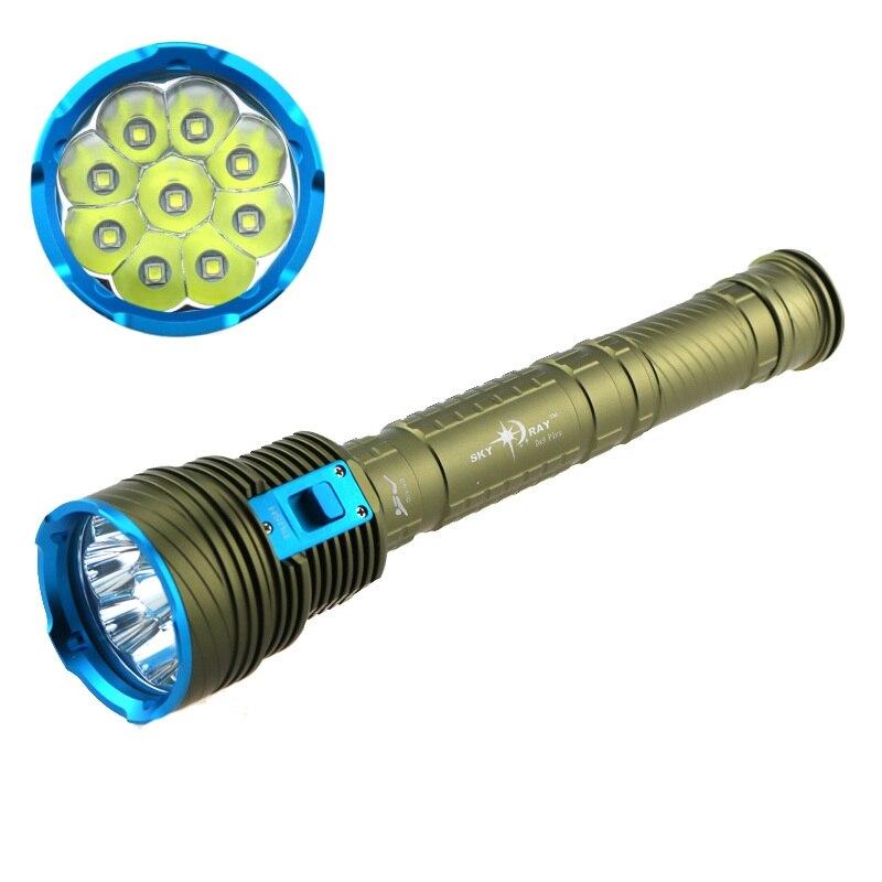 ФОТО 200M Underwater Waterproof 9XCREE XM-L2 9L2 LED Diving Flashlight Torch Lantern 90W 3 Mode (High Low Strobe) 18000 Lumens