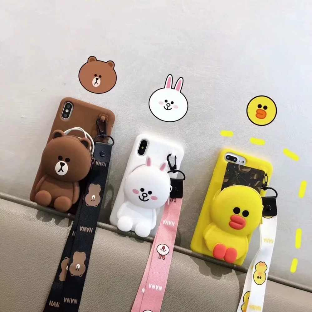 Cute Cartoon DIY 3D Wallet Soft Silicone Case For iPhone X XR XS Max 8 7 6 6S Plus 11 Pro MAX Samsung S8 S9 S10 Plus Note 8 9 10
