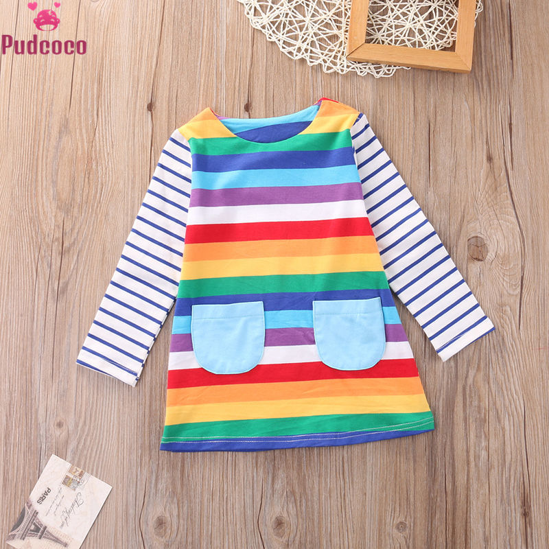 Pudococo Printed Rainbow Colorful Little <font><b>Girls</b></font> <font><b>Dress</b></font> Toddler Kid <font><b>Girls</b></font> Princess <font><b>T</b></font> <font><b>Shirt</b></font> <font><b>Dress</b></font> Casual Winter Clothes 1-7 Year image