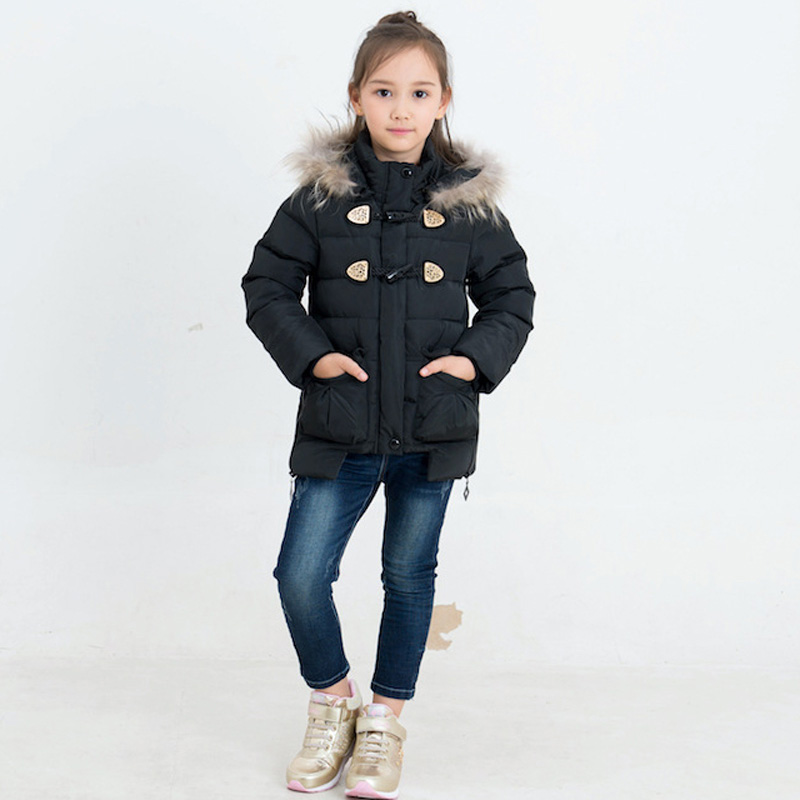 2018 Girls Winter Down Coat Kids Warm Outerwear Hooded Coat Baby Thick 80% White Duck Down Coats Real Fur Collar Overcoat E275 мобильный телефон philips xenium e560 black