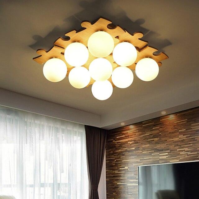 Moderne Mode DIY Holz Schlafzimmer Decke Lampe Arbeitszimmer Led Lampe AC  110 V 220 V