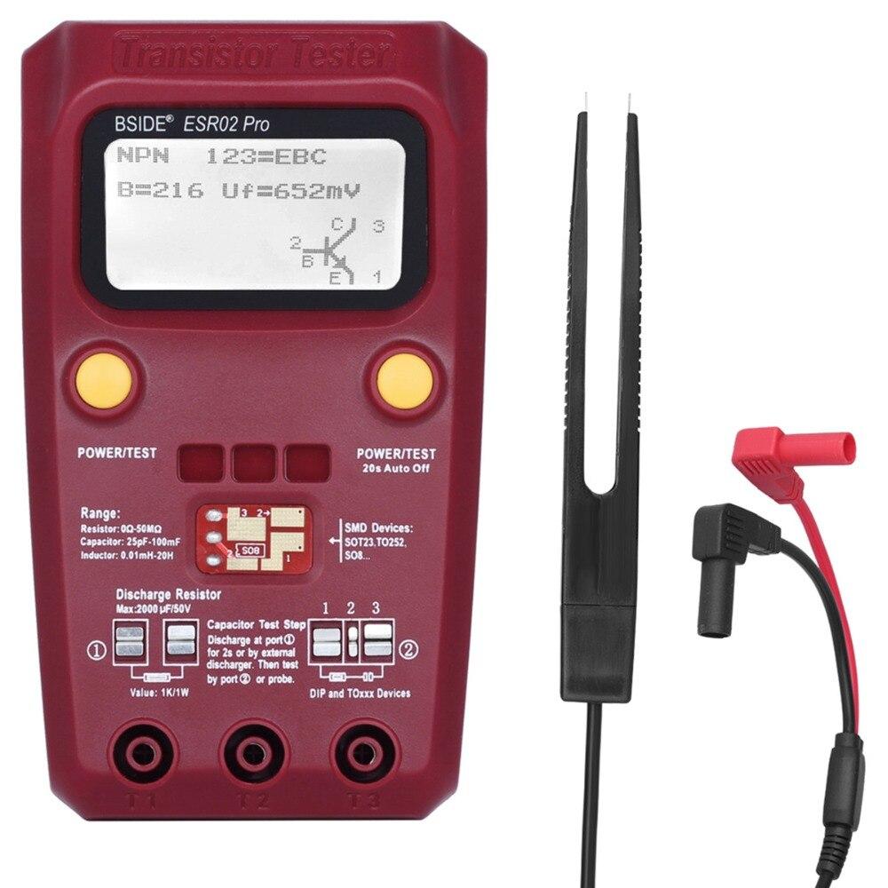 BSIDE Numérique Transistor Testeur SMD Composants Diode Triode Résistance Condensateur Inductance ESR Mètre Multimètre avec des Pincettes