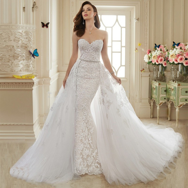 2019 Detachable Train Gorgeous Lace Wedding dresses Plus size Sleeveless Sweetheart Neck Mermaid Wedding dress Robe de mariage