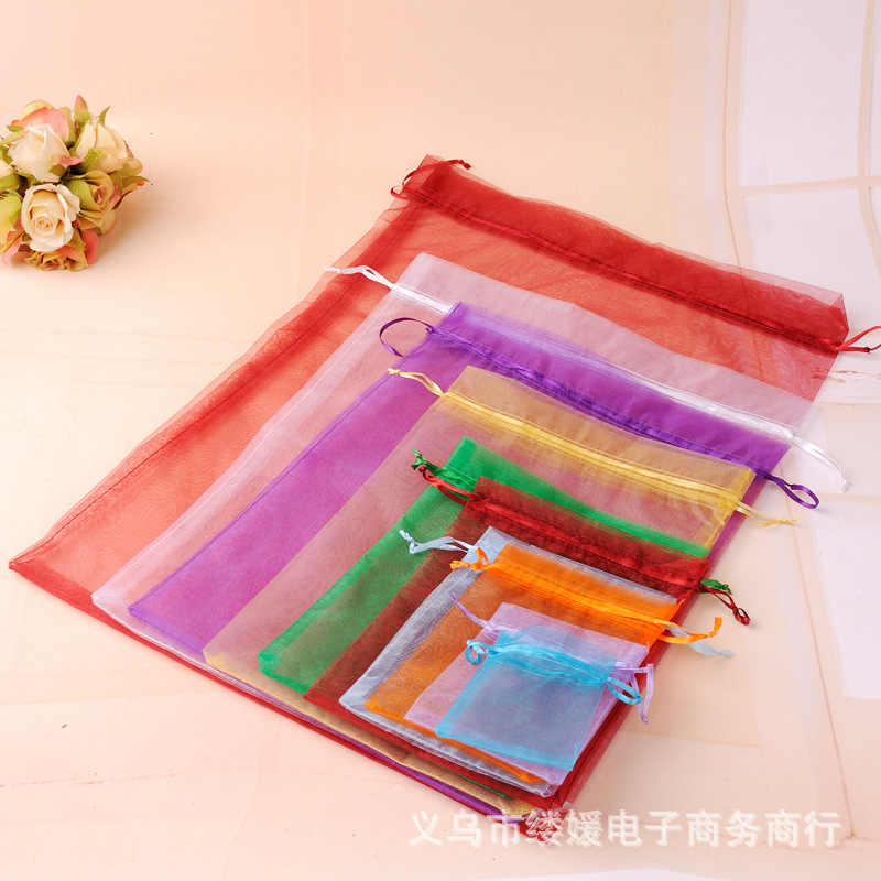 50 pieces Plain Mesh yarn Bouquet Gift candy bag Festive party gauze bag gift bag