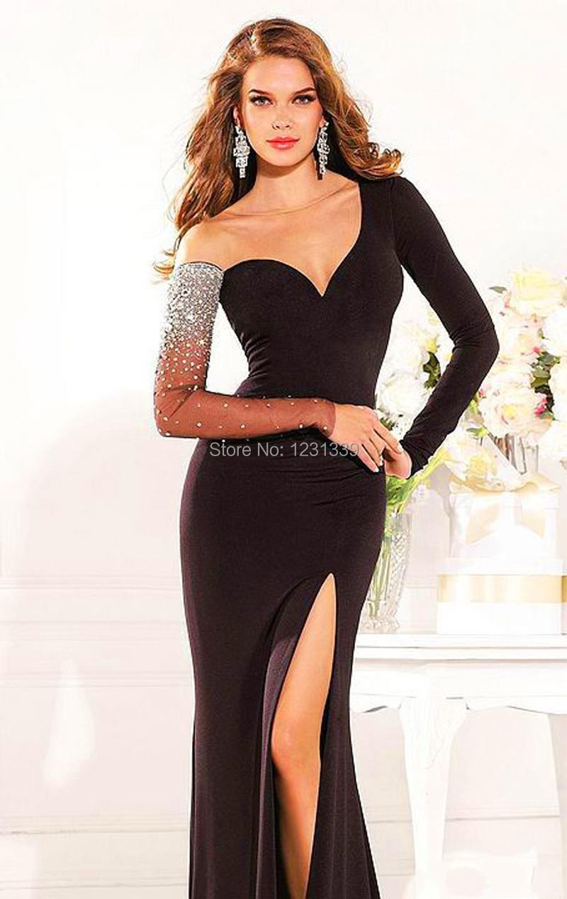Aliexpress.com : Buy Black Long Sleeve Evening Dresses 2015 ...