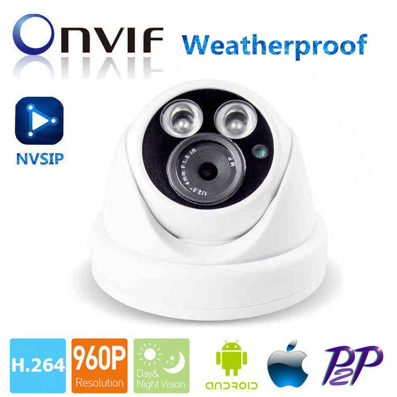 Dome IP Camera 960P Security HD Network CCTV Camera Mega pixel Indoor Outdoor Network IP Camera , ONVIF H.264 Support Phone View