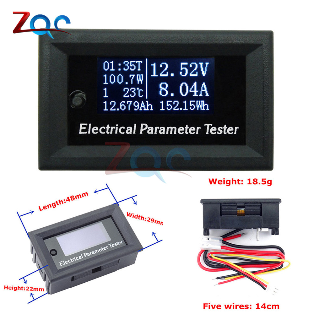 DC 100V/10A OLED Voltmeter display monitor tester Current Voltage Meter Charger Ammeter battery power supply capacity detection