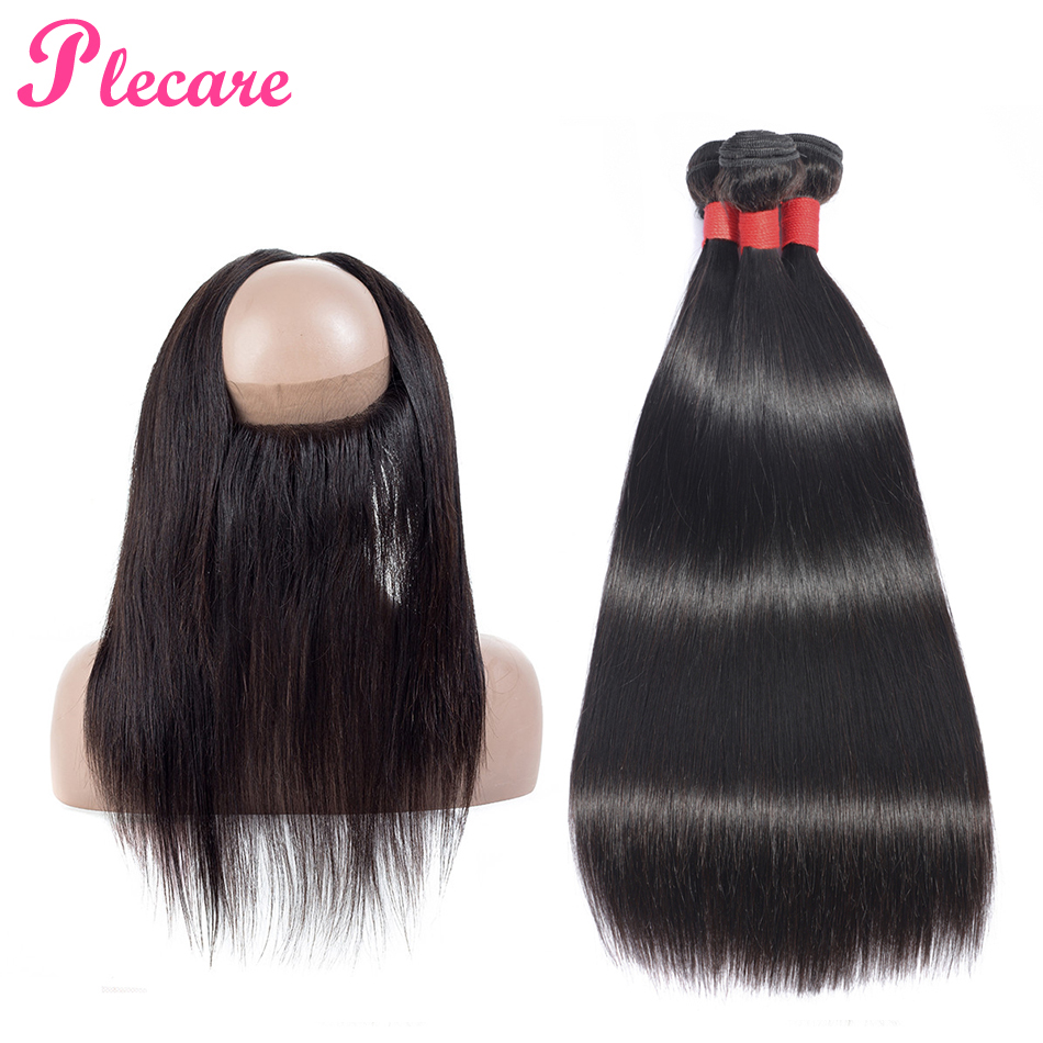 Plecare Bundles With Frontal 360 Lace Frontal With Bundle Brazilian Straight Hair Weave Bundles Non Remy