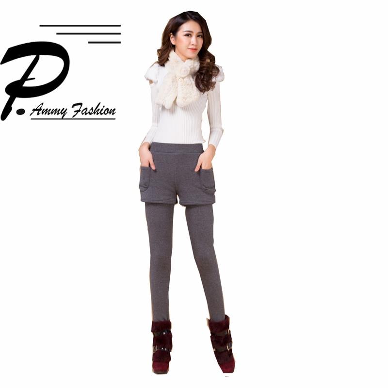 S~3XL Fleece Warm Leggings Pants Solid Color Legging Womens Ladies Girls Winter Fashion Thicken Fake Two Pieces Pencil Pants