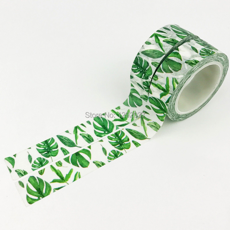 15mm X 10m Cute Beautiful Plant Green Leaves Decorative Washi Tape Paper DIY Scrapbooking Masking Tape School Office Supply 0 8cm 8m the seventh season slim decorative washi tape scotch diy scrapbooking masking craft tape school office supply