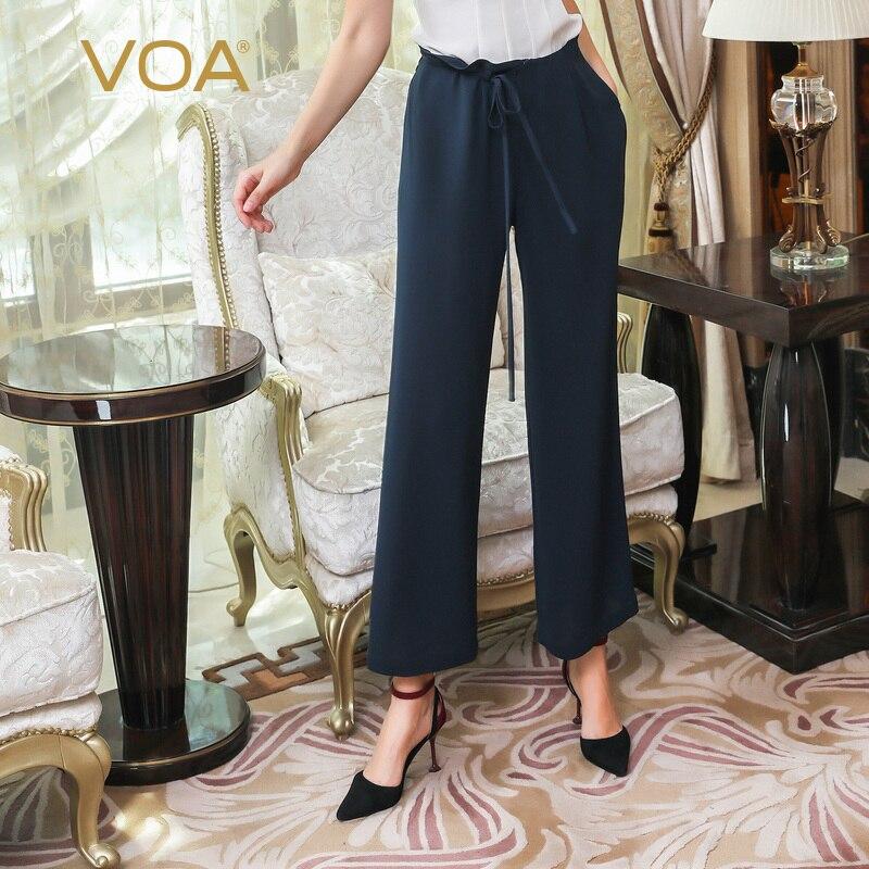 VOA High Waist Straight Suit Pants Office Ladies Luxury Silk Trousers Women Business Formal Drawstring Belt Lace Up Broek K875