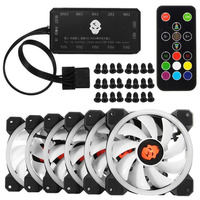 6pcs 120mm Computer PC Cooler Cooling Fan Double Ring RGB LED Fan With Remote Control 366 Modes For CPU
