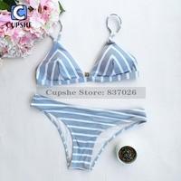 Cupshe Sea Of Me Stripe Bikini Set Women Summer Sexy Swimsuit Ladies Beach Bathing Suit Swimwear
