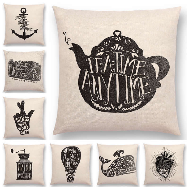 US $3.26 18% OFF|Hot Sale Black And White Decorative Letters Interesting  Pattern Anchor Camera Teapot Grinder Whale Fox Cushion Cover Pillow Case-in  ...