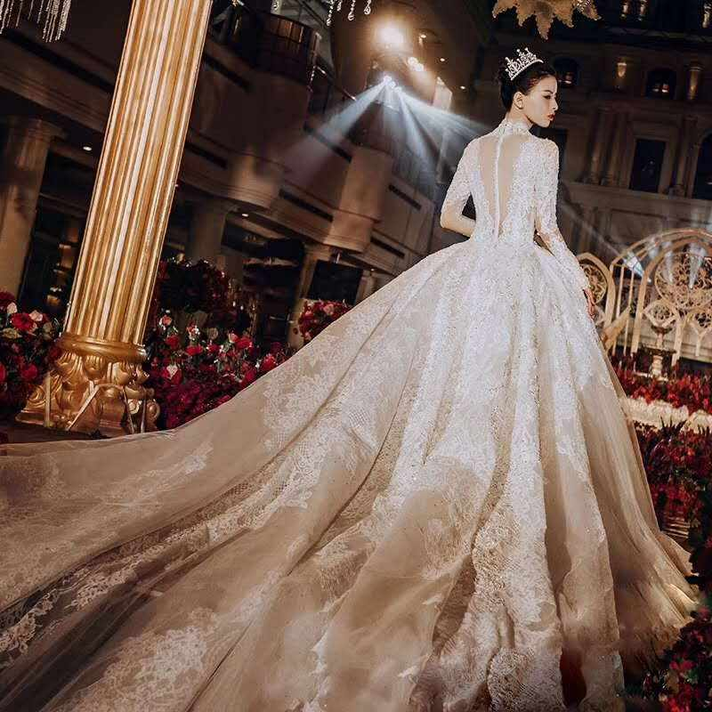 Luxury Dubai Cathedral Ball Gown Wedding Dress 2019 Lace Long Sleeve Vestido De Noiva Vintage Saudi Arabia Muslim Wedding Gowns