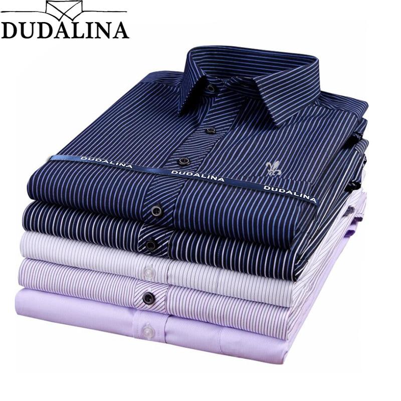 Dudalina Male Striped Shirt Brand Clothing Pocket Mens Long Sleeve Shirt 2019 Summer Slim Fit Shirt Casual Shirt Men Clothes