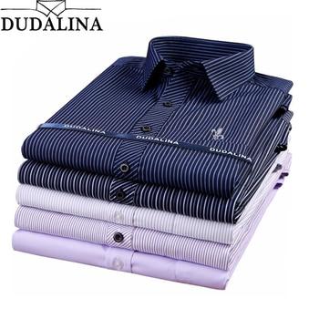 Dudalina Male Striped Shirt Brand Clothing Pocket Mens Long Sleeve Shirt 2020 Summer Slim Fit Shirt Casual Shirt Men Clothes striped long shirt with chest pocket