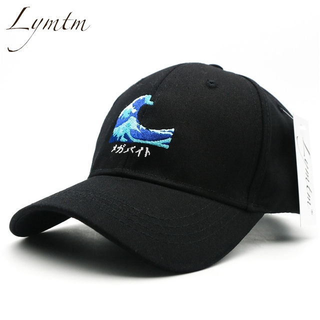421f47d4d94  Lymtm  2018 Harajuku Waves Embroidery Baseball Cap Japanese Style Men Women  Casual Curved Breathable Snapback Sun Hats Bone