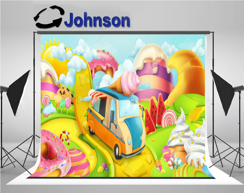 sweet candy land ice cream truck theme backgrounds Vinyl cloth High quality Computer print children kids backdrop