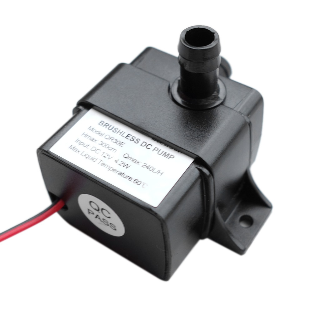 Water Pump Ultra-quiet DC 12V 4.2W 240L/H Flow Rate Waterproof Brushless Pump Mini Submersible Water Pump QR30E