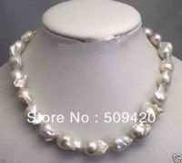 ~~ Free ShippingLarge 15 23mm White Unusual Baroque Pearl Necklace disc Clasp