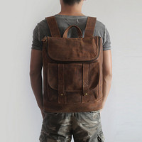 Unisex Backpack Genuine Leather Women/Men Travel Bags School Laptop Bags High Quality TravellerMood Teenager Backpack hot sale