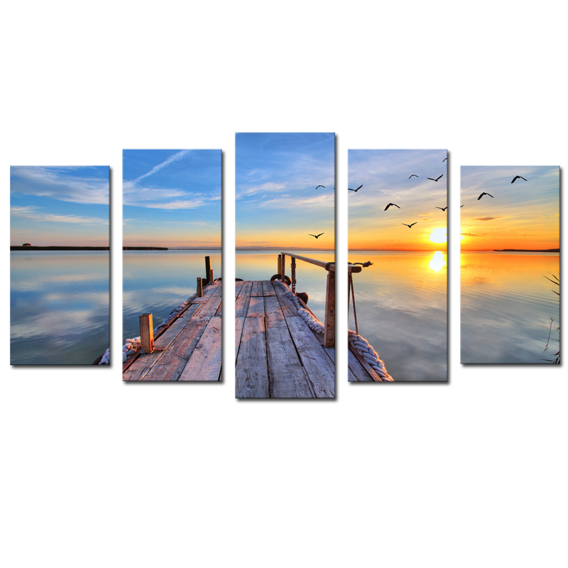5 Panels Sunset Seascape Scenery Picture Print Painting Modern Canvas Wall Art for Wall Decor Home