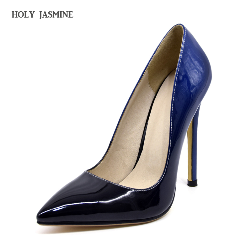 2017 Women pumps Fashion gradient color High heels single shoes female Spring Summer patent leather wedding party shoes woman 2016 spring and summer free shipping red new fashion design shoes african women print rt 3
