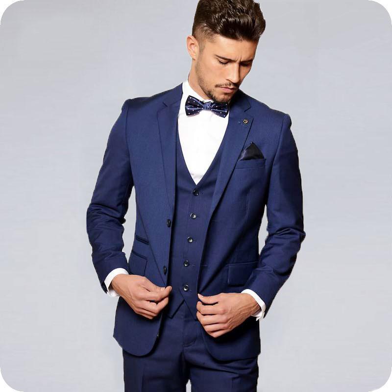 Navy Blue Men Suits For Wedding Suits Bridegroom Slim Fit Formal Prom Custom Blazer Tuxedos Best Man Terno Masculino 3Piece 2019