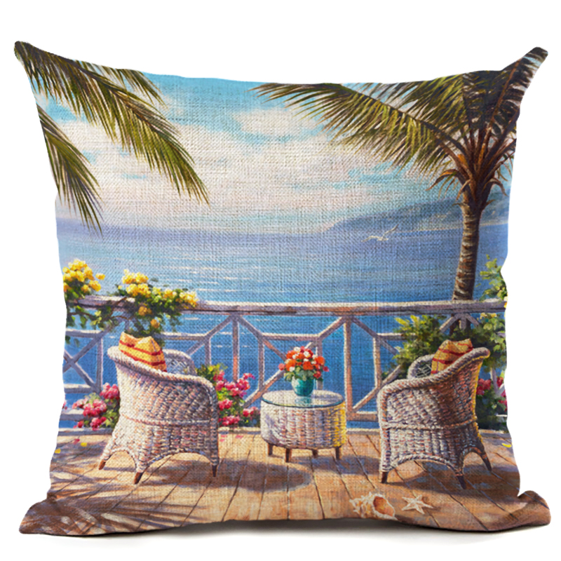 Home Textile Scenery Series Cushion Cover Beach Forest Sunrise Cushion Cover Coconut Tree Throw Pillow Sofa Decorative Pillows Cover Cojines