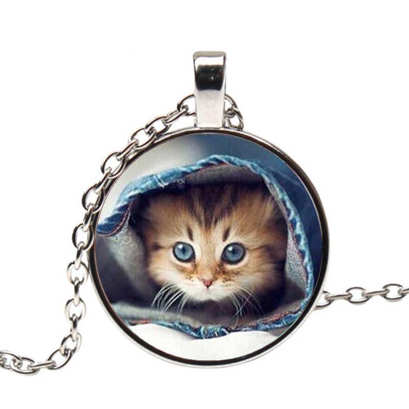 2019 חתלתול תליון שרשרת כחול עיניים חמוד Adorkable חתול זכוכית תכשיטי קרושון הטוב ביותר חבר שרשרת ארוכה בציר שרשרת