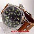 Полированный 44 мм стерильный черный циферблат сапфировое стекло 6497 ручная обмотка мужские часы C83
