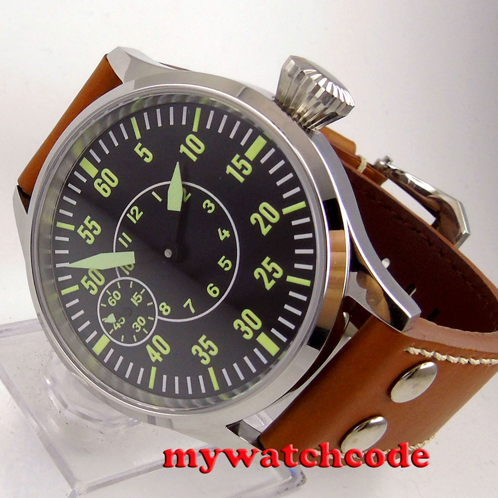polished 44mm sterile black dial sapphire glass 6497 hand winding mens watch C83 44mm black sterile dial green marks relojes 6497 mens mechanical hand winding watch luminous armbanduhr cm164bk