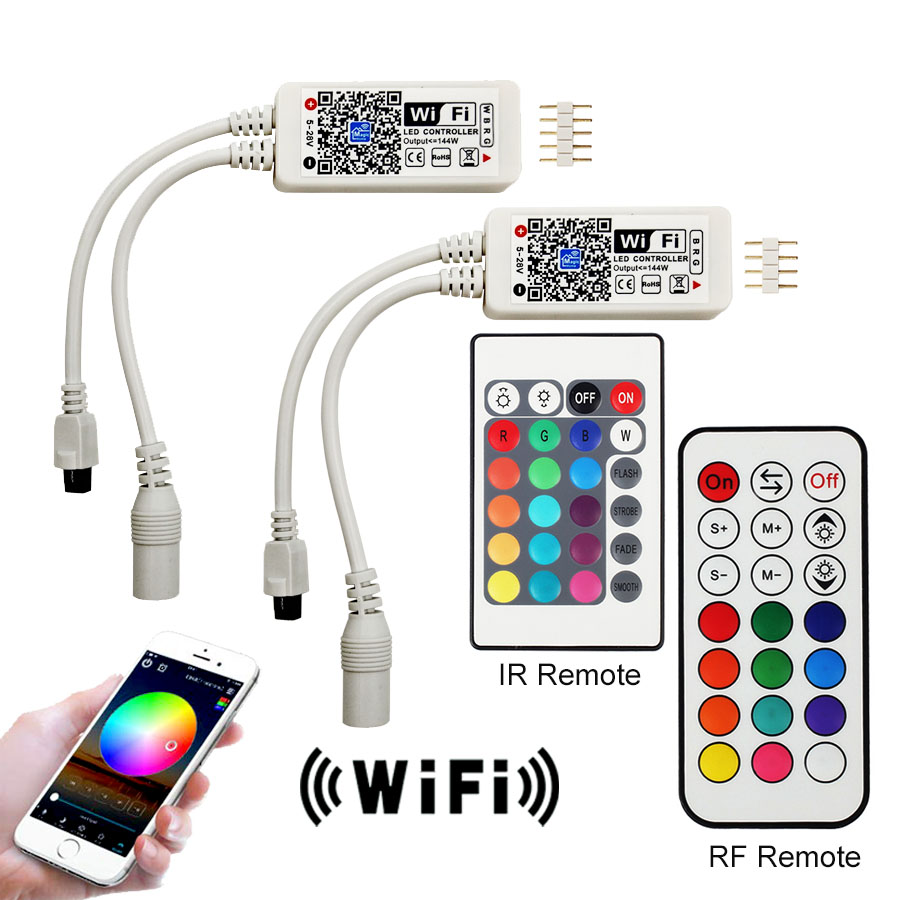 Wifi RGB / RGBW LED Controller Mini DC12V With RF 21Key / IR 24Key Remote Control with Battery For RGB / RGBW LED Strip Lights