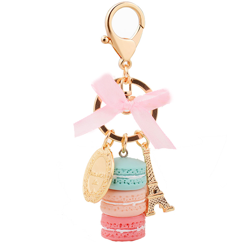 EASYA France Paris 5 Warna Cute Macaroon Effiel Tower Macarons Keychain Colorful Keyring Bag Pendant Car Charm Holder Key