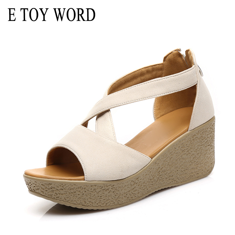 E TOY WORD Big Size 40-43 Comfort High-Heeled Sandals Women Summer Open Toe Platform Wedges sandals Fashion Flock Women Shoes 32 43 big size summer woman platform sandals fashion women soft leather casual silver gold gladiator wedges women shoes h19