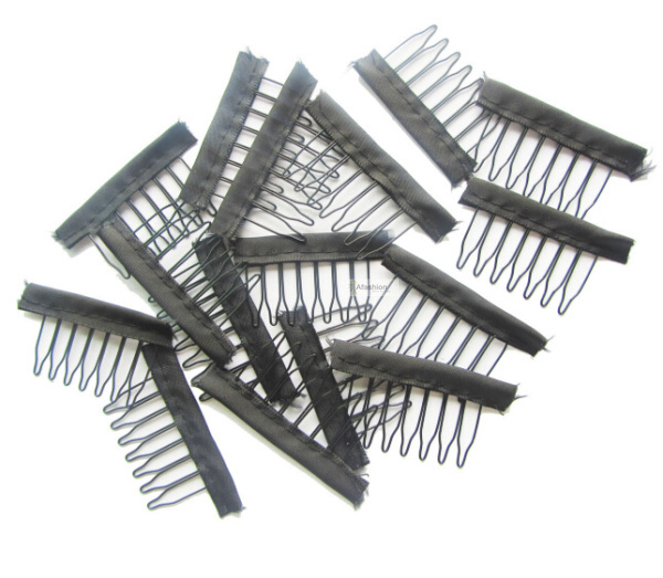 30pcs Black color wire wig combs plastic clips convenient for hair full lace wigs cap accessories styling tools