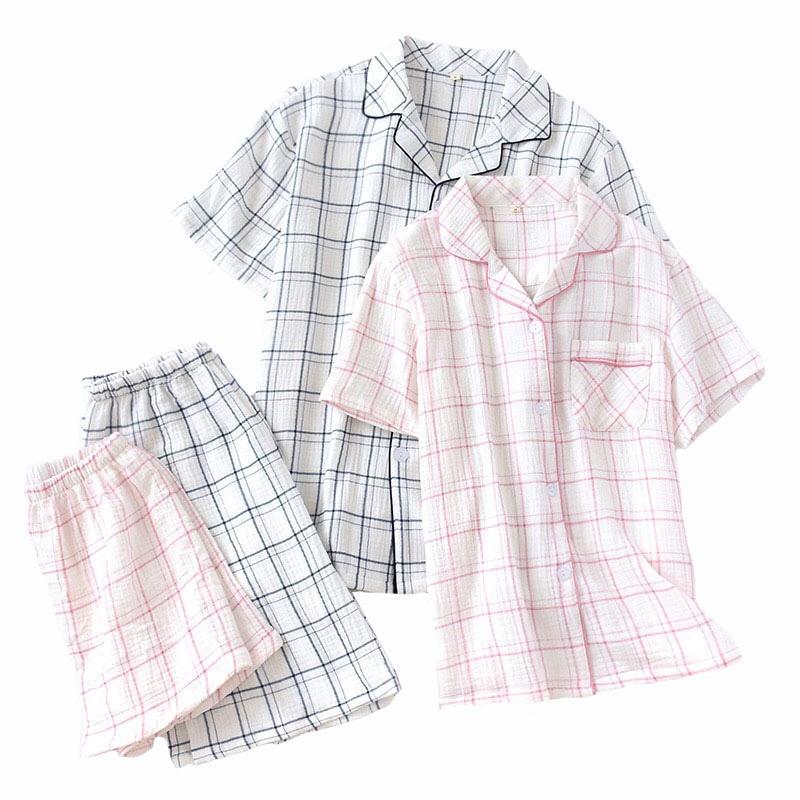 2019 Summer New Lovers Pajamas Set Comfort Gauze Cotton Men And Women Plaid Sleepwear Simple Style Couple Casual Wear Homewear
