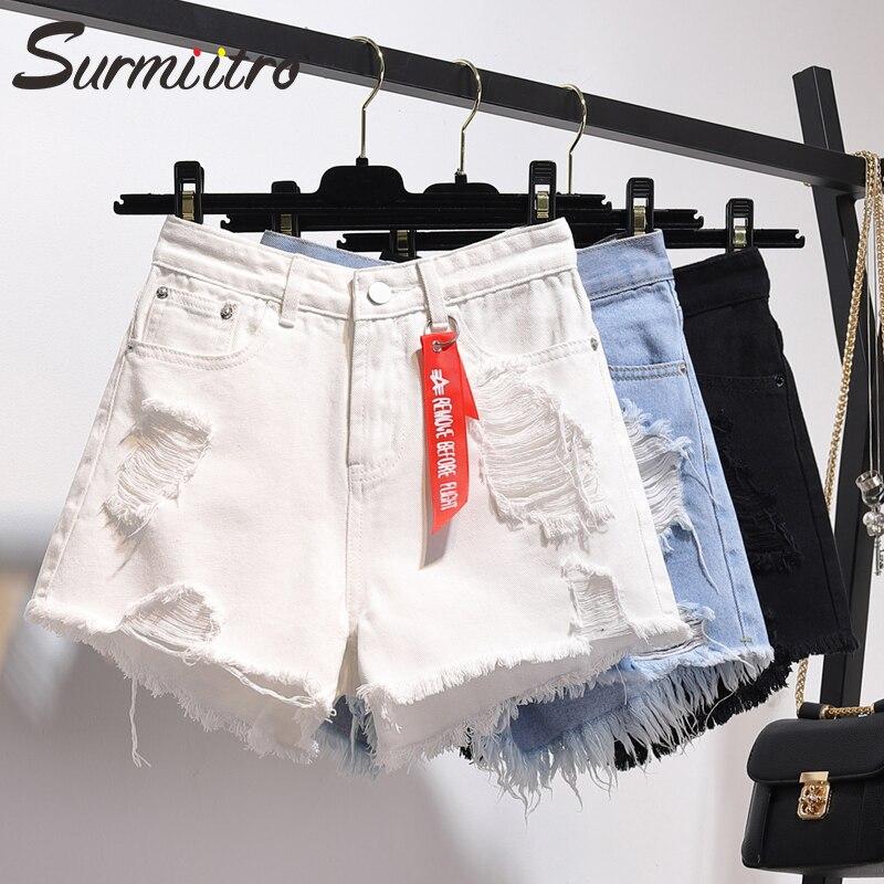 Surmiitro Plus Size 5XL Denim   Shorts   Women 2019 Spring Summer Fashion Lady White Blue Black High Waist   Short   Jeans Female