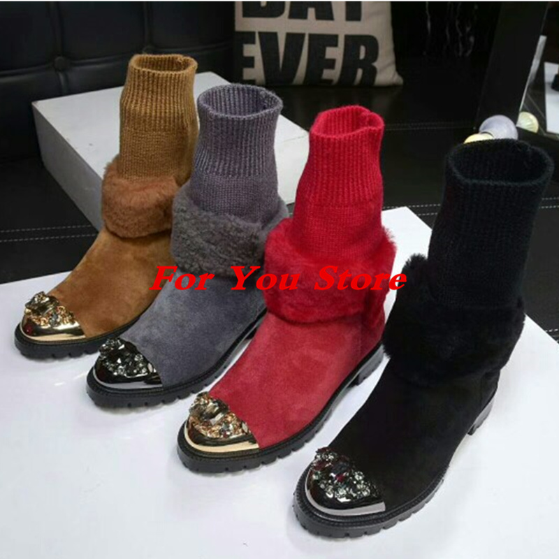 Metal Round Toe Crystal Embellished Sock Boots Women Winter Shoe Fur Design Short Booties Low Heel Luxury Brand Star Runway Shoe miquinha round toe women boots mixed color short booties luxury brand women cool runway fashion star high heel boots buckle shoe