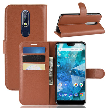 10pcs/lot Litchi Pattern Flip Magnetic PU Leather Wallet Stand Case For Nokia 7.1 2 3.1 5.1 Plus X5 X6 7 Lychee grain cover