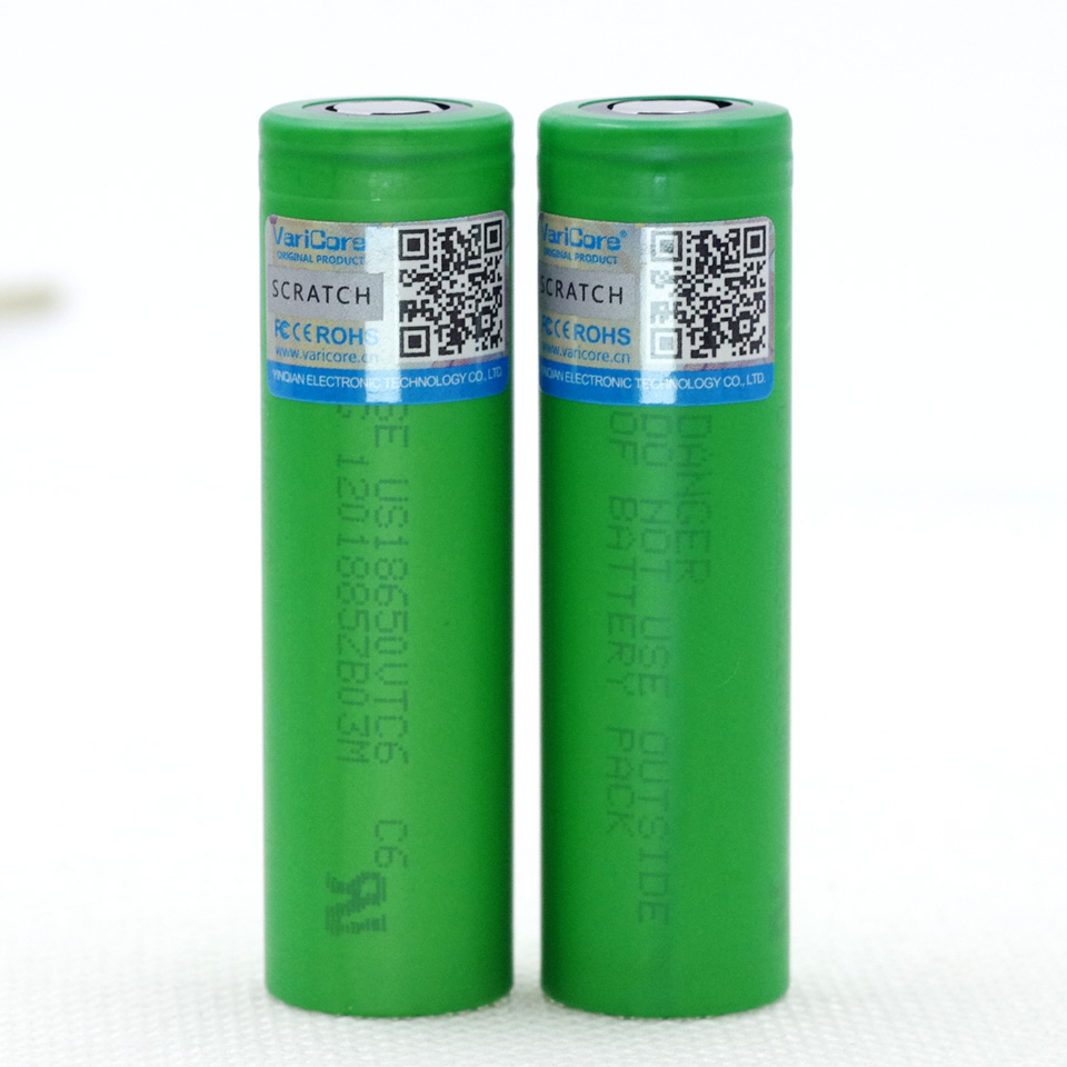 VariCore New VTC6 3.7V 3000 mAh 18650 Li-ion Battery 30A Discharge for Sony US18650VTC6 Flashlight Tools e-cigarette batteries 2pcs new original lg hg2 18650 battery 3000 mah 18650 battery 3 6 v discharge 20a dedicated electronic cigarette battery power