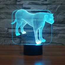 Free Shipping Color changing Flashing touch sensor control Leopards Acrylic 3D LED Bedroom Night Light USB table Lamps