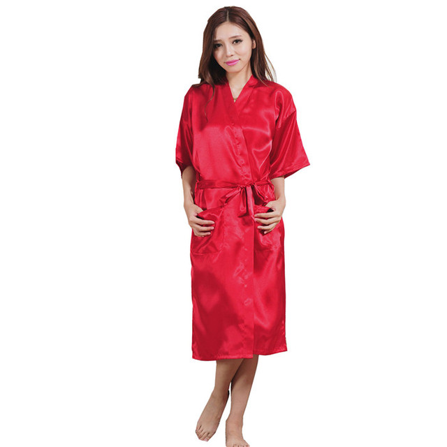 Brand Red Sexy Women Silk Rayon Sleepwear Kimono Bath Dress Gown Summer  Casual Nightgowns Robes Size 25c63f6b8