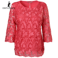 Fashion pink large size tops female lace decorative pattern summer Casual  hot style Tees women tops Three Quarter tops