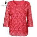 Rosa de la moda de gran tamaño tops mujer de encaje patrón decorativo verano estilo caliente Ocasional Camiseta tops de las mujeres de Tres Cuartos tops