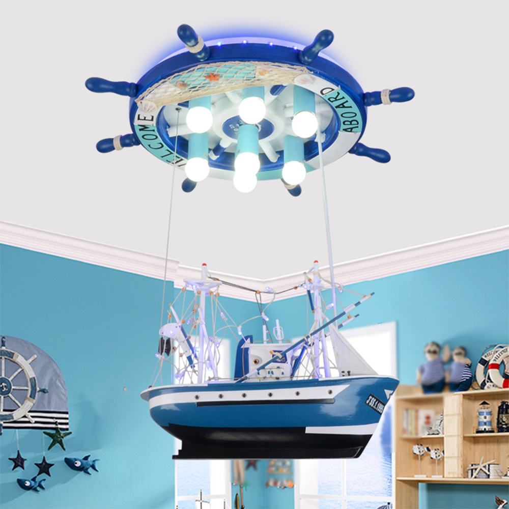 Led pendant lights Children Ceiling Lamp Sailing Sea Ship Helmsman with remote control Light 110V 220V luminarias home lighting