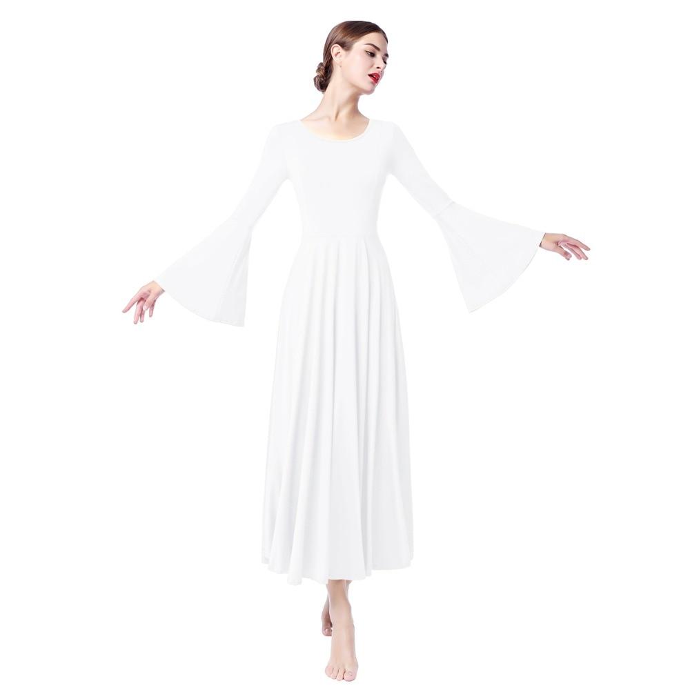 Women White Praise Dress Long Bell Sleeve Ruffled Liturgical Dance Dresses Church Worship Pray Dress Pleated Loose Fit Dancewear in Dresses from Women 39 s Clothing