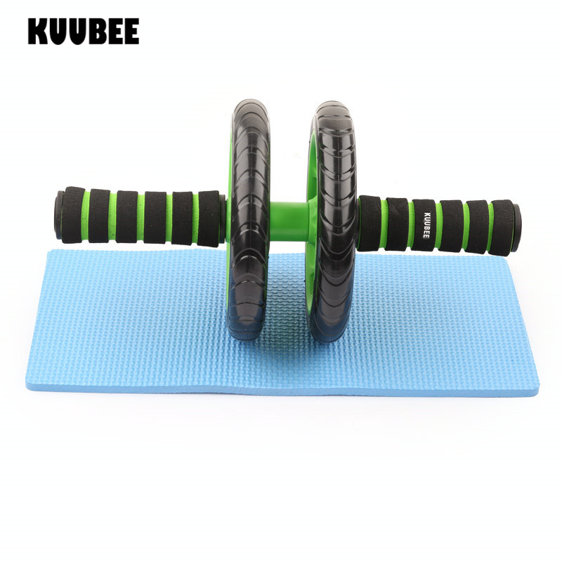 Kuubee noise free abdominal wheel ab roller with mat for for Aparatos de ejercicio